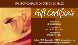 Coffee Shop and Cafe Gift Certificate Templates | Easy to ...