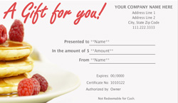 restaurant gift certificate templates easy to use gift certificates. Black Bedroom Furniture Sets. Home Design Ideas