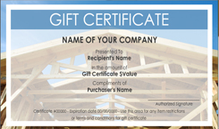 Roofing Contractor Gift Certificate Templates Easy To