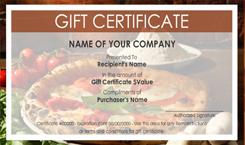 Italian restaurant gift certificate templates easy to for Restaurant gift certificate template